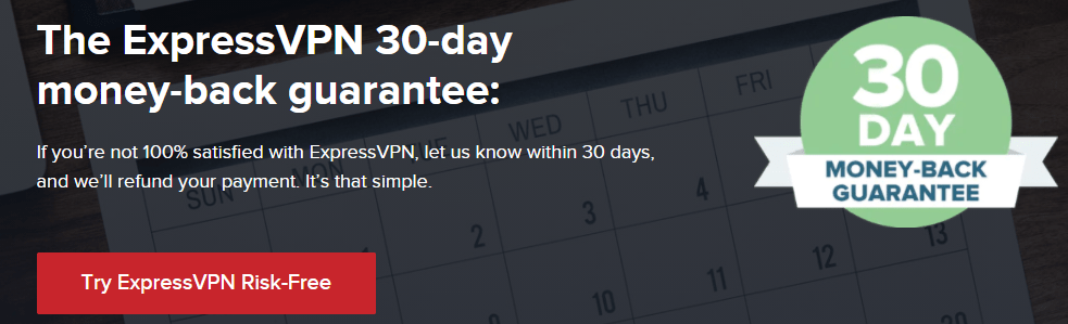 ExpressVPN 30-day money-back guarantee